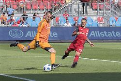 August 12, 2018 - Toronto, Ontario, Canada - MLS Game at BMO Field 2-3 New York City. IN PICTURE: SEBASTIAN GIOVINCO, BRAD STUVER (Credit Image: © Angel Marchini via ZUMA Wire)