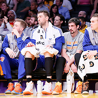 12 March 2015: New York Knicks center Andrea Bargnani (77) is seen next to New York Knicks guard Alexey Shved (1) and New York Knicks forward Lou Amundson (21) during the New York Knicks 101-94 victory over the Los Angeles Lakers, at the Staples Center, Los Angeles, California, USA.