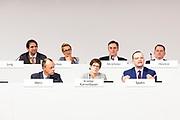 Friedrich Merz, Annegret Kramp-Karrenbauer, Jens Spahn  beim 31. Bundesparteitag der CDU in Hamburg, Deutschland, 7. Dezember 2018