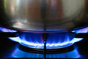 Saucepan cooking over gas flame on cooker hob, England, United Kingdom