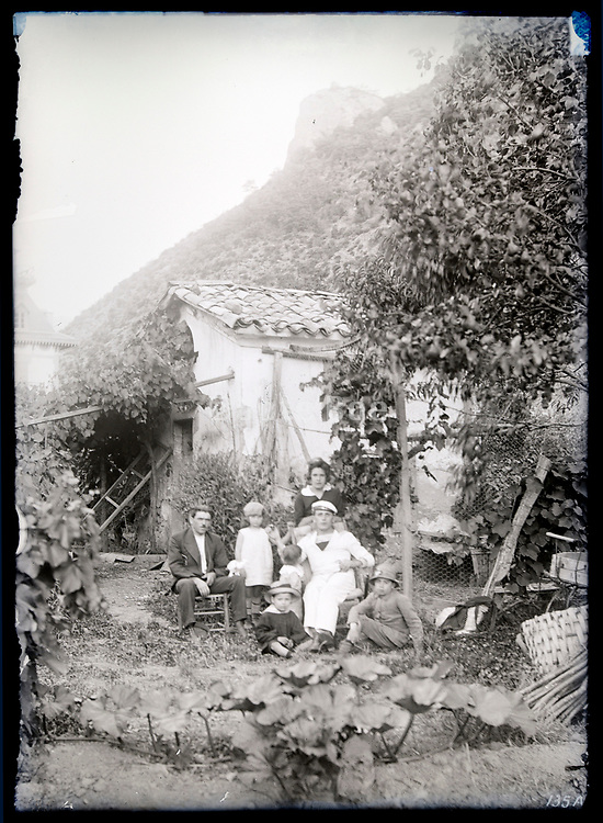 family together in garden France circa 1930s