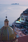 Dusk from Le Sirenuse Hotel with the Li Galli Islands in the distance, Positano, Campagna, Italy.