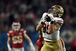 February 2, 2020, Miami Gardens, FL, USA: San Francisco 49ers tight end George Kittle (85) catches a pass deep in Kansas City territory in the first half of Super Bowl 54 on Feb. 2, 2020 at Hard Rock Stadium in Miami Gardens, FL. (Credit Image: © TNS via ZUMA Wire)