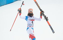 Third placed in overall classification of Golden Fox 2021 Michelle Gisin (SUI) celebrates at trophy ceremony during 2nd Run of Ladies' Giant Slalom at 57th Golden Fox event at Audi FIS Ski World Cup 2020/21, on January 17, 2021 in Podkoren, Kranjska Gora, Slovenia. Photo by Vid Ponikvar / Sportida