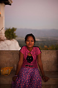 Girl in one of the terraces of the Mandalay Hill, Mandalay, Burma.<br /> Note: These images are not distributed or sold in Portugal