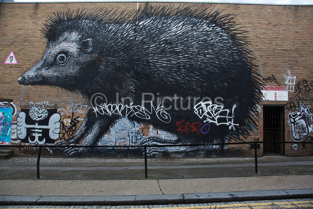 Street art hedgehog by Roa in the Brick Lane area of Shoreditch, East London, United Kingdom. Street art in the East End of London is an ever changing visual enigma, as the artworks constantly change, as councils clean some walls or new works go up in place of others. While some consider this vandalism or graffiti, these artworks are very popular among local people and visitors alike, as a sense of poignancy remains in the work, many of which have subtle messages.
