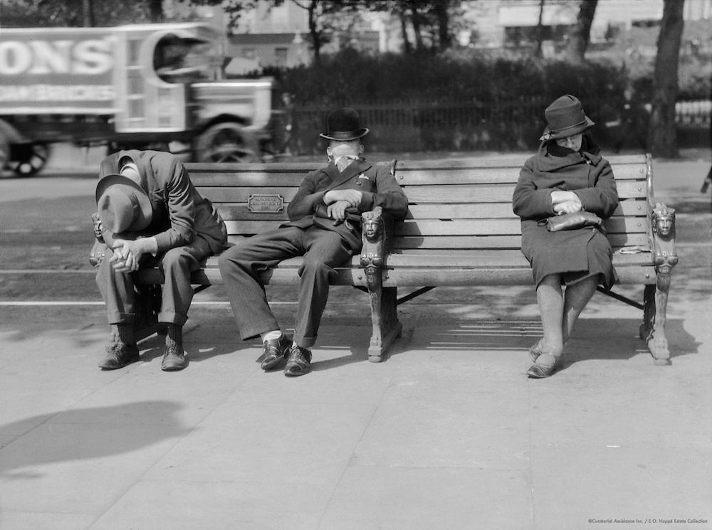 Unemployed Sitting on Benches, Embankment, London, 1933