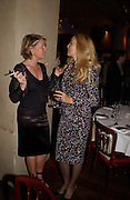 Fiona Golfar and Jerry Hall, Hitchcock Blonde Gala dinner at the Royal Court Theatre hosted by Emily Oppenheimer. 23 April 2003.  © Copyright Photograph by Dafydd Jones 66 Stockwell Park Rd. London SW9 0DA Tel 020 7733 0108 www.dafjones.com