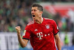 WOLFSBURG, Oct. 21, 2018  Bayern Munich's Robert Lewandowski celebrates scoring during a German Bundesliga match between Wolfsburg and Bayern Munich, in Wolfsburg, Germany, on Oct. 20, 2018. Bayern Munich won 3-1. (Credit Image: © Xinhua via ZUMA Wire)
