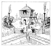 (The drivers of two steam trains approaching same junction from different directions hold open the gates politely for each other)