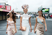 30/07/2015 report free : Winners Announced in Kilkenny Best Dressed Lady, Kilkenny Best Irish Design & Kilkenny Best Hat Competition at Galway Races Ladies Day <br /> From Left at the event were Lorena , Barbara and Gabriella Dunne from Abbeyknockmoy.<br /> Photo:Andrew Downes, xposure