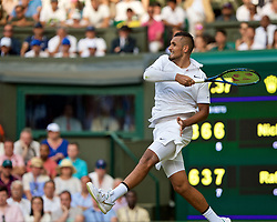 LONDON, ENGLAND - Thursday, July 4, 2019: Nick Kyrgios (AUS) during the Gentlemen's Singles second round match on Day Four of The Championships Wimbledon 2019 at the All England Lawn Tennis and Croquet Club. Nadal won 6-3, 3-6. 6, 7-6. (Pic by Kirsten Holst/Propaganda)
