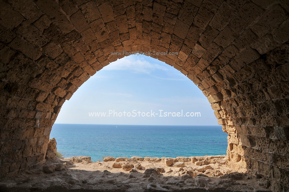 The remains of the old fort of Apolonia, AKA Arsuf, Apollonia is an archaeological park containing the ruins of the Crusade city, fort and port on the Mediterranean Sea, In 1101 it fell to the Crusaders who named the place Lordship of Arsur in the Kingdom of Jerusalem. Israel, Herzelia