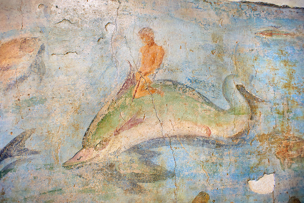 Roman Fresco with a boat decorated for a festival and marine life from the second quarter of the first century AD. (mosaico fauna marina da porto fluviale di san paolo), museo nazionale romano ( National Roman Museum), Rome, Italy. inv. 121462 . .<br /> <br /> If you prefer to buy from our ALAMY PHOTO LIBRARY  Collection visit : https://www.alamy.com/portfolio/paul-williams-funkystock/national-roman-museum-rome-fresco.html<br /> <br /> Visit our ROMAN ART & HISTORIC SITES PHOTO COLLECTIONS for more photos to download or buy as wall art prints https://funkystock.photoshelter.com/gallery-collection/The-Romans-Art-Artefacts-Antiquities-Historic-Sites-Pictures-Images/C0000r2uLJJo9_s0