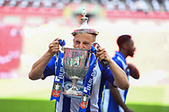 Shane Cooper-Clark of Thatcham Town (9) celebrates winning the FA Vase match (1-0) between Stockton Town and Thatcham Town at Wembley Stadium, London, England on 20 May 2018. Picture by Stephen Wright