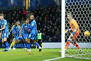 Burton Albion midfielder Scott Fraser (7) shoots and scores a goal 2-1 during the EFL Sky Bet League 1 match between Burton Albion and Gillingham at the Pirelli Stadium, Burton upon Trent, England on 12 January 2019.
