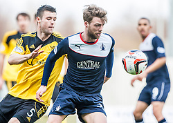 Livingston Calum Fordyce and Falkirk's Rory Loy.<br /> Falkirk 1 v 1 Livingston, Scottish Championship game today at The Falkirk Stadium.<br /> © Michael Schofield.