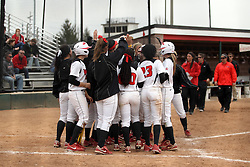 06 April 2013: Elizabeth Kay trots home to a team reception after launching the ball over the left field fence across a fierce wind during an NCAA Division 1 Missouri Valley Conference (MVC) women's softball game between the Drake Bulldogs and the Illinois State Redbirds on Marian Kneer Field in Normal IL