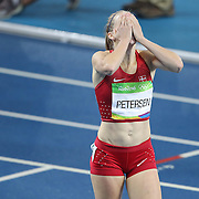 Athletics - Olympics: Day 13   Sara Petersen of Denmark celebrates after winning the silver medal in the Women's 400m Hurdles final at the Olympic Stadium on August 18, 2016 in Rio de Janeiro, Brazil. (Photo by Tim Clayton/Corbis via Getty Images)