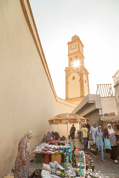 Market stall and clock tower in old Medina, Casablanca, Morocco