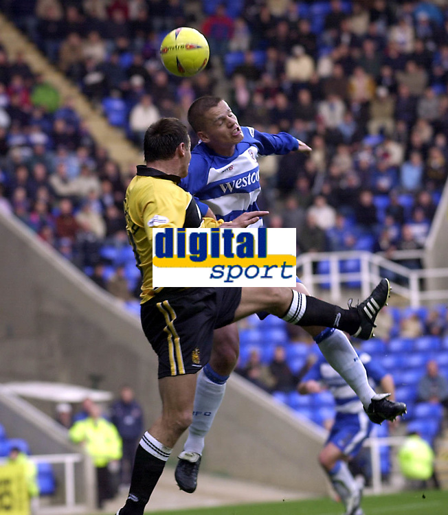 Picture: Henry Browne.<br />Date: 08/11/2003.<br />Reading v Wigan Athletic Nationwide Division One.<br /><br />Ivar Ingimarsson of Reading rises above Lee McCulloch of Wigan