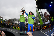 Seattle Seahawks quarterback Russell Wilson, left, and recording artist, Ciara, hold up the MLS Cup trophy during the MLS Cup Champions Parade & Rally on November 12, 2019 in Seattle, Washington, to celebrate the Sounders' win over Toronto FC to win the MLS Cup soccer match in Seattle. (Alika Jenner/Image of Sport)