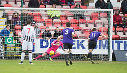 Ayr United's Craig Moore scoring their second goal from a penalty. <br /> half time : Dunfermline 1 v 2 Ayr United, Scottish League One played at East End Park, 13/2/2016.