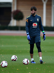 Brazil's Alisson during the training session at London Colney, Hertfordshire.