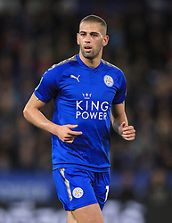 """Leicester City's Islam Slimani during the Carabao Cup, Fourth Round match at the King Power Stadium, Leicester. PRESS ASSOCIATION Photo. Picture date: Tuesday October 24, 2017. See PA story SOCCER Leicester. Photo credit should read: Mike Egerton/PA Wire. RESTRICTIONS: EDITORIAL USE ONLY No use with unauthorised audio, video, data, fixture lists, club/league logos or """"live"""" services. Online in-match use limited to 75 images, no video emulation. No use in betting, games or single club/league/player publications."""