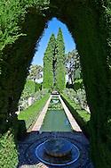 Fountain in the Moorish Generalife's Lower Gardens, Alhambra. Granada, Andalusia, Spain.