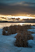 Sunset at Freezeout Lake Wildlife Management area in early spring