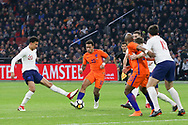 Netherlands forward Memphis Depay (Olympique Lyonnais), battles with England midfielder Dele Alli during the Friendly match between Netherlands and England at the Amsterdam Arena, Amsterdam, Netherlands on 23 March 2018. Picture by Phil Duncan.