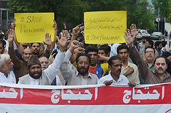 June 29, 2017 - Lahore, Punjab, Pakistan - Pakistani Shiite Muslims stage a protest against the killing of their community members in a twin bombing in Lahore. Twin blasts on June 23 in the northwestern city of Parachinar then ripped through crowds in a market before sunset. Officials confirmed that the attack had killed 72 people and injured more than 200. (Credit Image: © Rana Sajid Hussain/Pacific Press via ZUMA Wire)