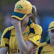 Ellyse Perry after Australia's loss during the ICC Women's World Cup Cricket play off for third place between Australia and India at Bankstown Oval, Sydney, Australia on March 21, 2009. India beat Australia by three wickets. Photo Tim Clayton