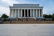 Washington DC, USA — February 3, 2020.  A wide angle photo of the Lincoln Memorial with visiting tourists walking up the stairs.