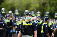 Large numbers of police are seen during the Melbourne Freedom Rally at The Shrine. Premier Daniel Andrews promises 'significant' easing of Stage 4 restrictions this weekend. This comes as only one new case of Coronavirus was unearthed over the past 24 hour and no deaths. (Photo by Dave Hewison/Speed Media)