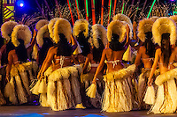 Tahina no Uturoa dance group performing during  the Winners Showcase, the final night of Heiva i Tahiti (July cultural festival), Place Toata, Papeete, Tahiti, French Polynesia.