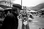 Portrait of an absent minded woman on a local market, Ha Giang Province, Vietnam, Southeast Asia