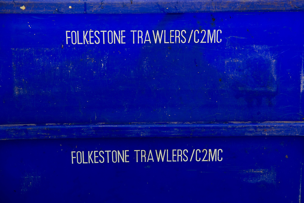 Folkestone Trawler Blue fish boxes. <br /> Folkestone Trawlers, process manage and market all fresh fish that is landed into Folkestone Harbour by local Fishermen. Folkestone, Kent. United Kingdom. A seaside town founded on its fishing industry which dates back to pre-Roman times. During its heyday there were over 100 boats operating out of the busy harbour and employing over 1000 people in the town. In 2016 there are 7 working boats left, employing just over 20 people. The boats are owned and managed by Folkestone families who have a strong fishing heritage.  (photo by Andrew Aitchison / In pictures via Getty Images)