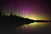 Norhern lights (Aurora borealis) reflected in Lac Sauvage <br />