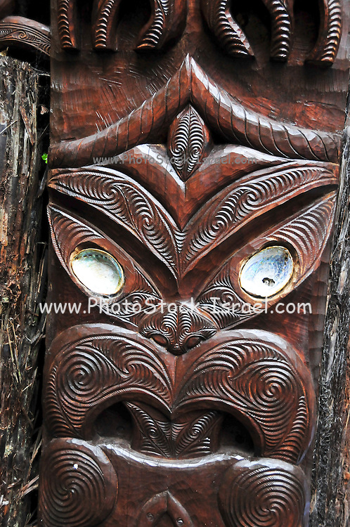 New Zealand, North Island, Rotorua, The Te Puia Geothermal Cultural Experience, Traditional wood carving detail