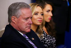 White House Chief of Staff Mark Meadows (L) sits with new Press Secretary Kayleigh McEnany (C) during a briefing on the COVID-19 pandemic at the White House in Washington, D.C. on Saturday, April 18, 2020. Photo by Tasos Katopodis/Pool/ABACAPRESS.COM