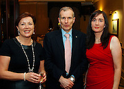 Clio O'Gara (left) and Eilis Loughrey of the Killarney Convention Centre with George Wilson of the Centre for Competitiveness at the EFQM Ireland Excellence Awards ceremony in association with Fáilte Ireland and the Centre for Competitiveness at the Galway Bay Hotel on Friday night. Photo:- Andrew Downes Photography / No Fee
