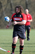 Adam Jones passes the ball. Wales rugby team training at the Vale Resort, Hensol near Cardiff on Tuesday 5th March 2013.  pic by  Andrew Orchard, Andrew Orchard sports photography,