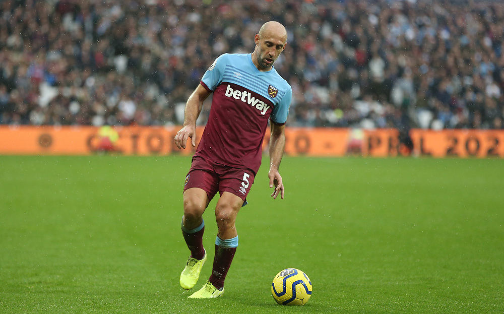 West Ham United's Pablo Zabaleta<br /> <br /> Photographer Rob Newell/CameraSport<br /> <br /> The Premier League - Saturday 26th October 2019 - West Ham United v Sheffield United - London Stadium - London<br /> <br /> World Copyright © 2019 CameraSport. All rights reserved. 43 Linden Ave. Countesthorpe. Leicester. England. LE8 5PG - Tel: +44 (0) 116 277 4147 - admin@camerasport.com - www.camerasport.com