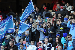 14-07-18 Johannesburg. Emirates Airlines Park. Emirates Lions vs Vodacom Blue Bulls.<br /> 2nd half. Bulls ladies supporters wave flags during the game.<br /> Picture: Karen Sandison/African News Agency (ANA)