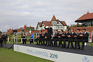Sandy Scott (GB&I) being introduced during the Official Opening of the Walker Cup, Royal Liverpool Golf CLub, Hoylake, Cheshire, England. 06/09/2019.<br /> Picture Thos Caffrey / Golffile.ie<br /> <br /> All photo usage must carry mandatory copyright credit (© Golffile | Thos Caffrey)