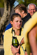 17-05-2015 NGF Competitie 2015, Hoofdklasse Heren - Dames Standaard - Finale, Golfsocieteit De Lage Vuursche, Den Dolder, Nederland. 17 mei. Dames Noordwijkse: Mayka Hoogeboom , na de overwinning.