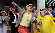 Fans react to a race before the Derby. (AP Photo/Brian Bohannon)