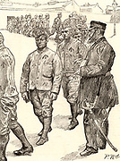 British prison system. Guard counting in prisoners after their day's work.  The men are all in prison uniform printed with the broad arrow or phaeon, the device marking all British government property. The warder is wearing a sword. Wormwood Scrubs Prison, London, England.  Engraving from 'The Graphic' (London, 2 November 1889).